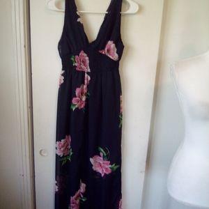 Navy blue floral maxi dress size S